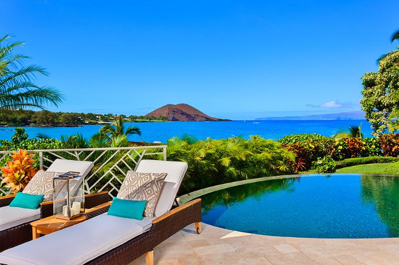 Your View From Coral Gardens Makena Looking Towards Makena Bay, Maluaka Beach, Big Beach. Poolside Chaise Lounges and Spectacular Ocean Views! - Coral Gardens at Makena Bay - Maui - rentals