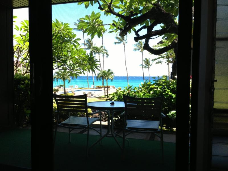 Relax on sofa while listening to ocean waves and enjoy a beautiful Maui Sunset - Quiet Maui Ocean Front Condo with Pool and BBQ - Lahaina - rentals