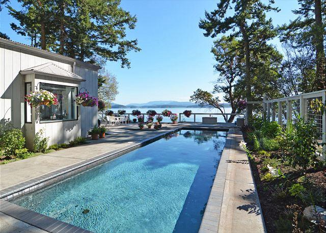 The glistening lap pool can be heated on request. - Topaz on San Juan Island - Friday Harbor - rentals