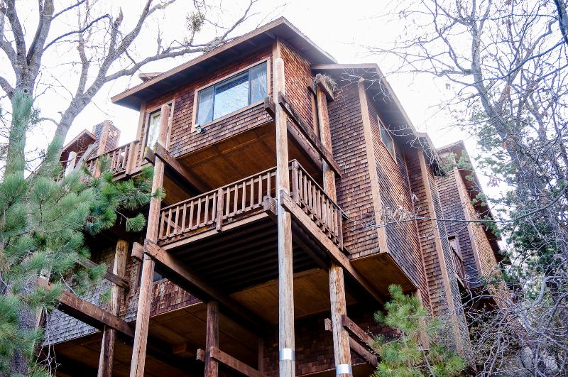 A majestic view of the house from the trail below. - Gorgeous Mountain Escape, 18+ New Beds! - Lake Arrowhead - rentals