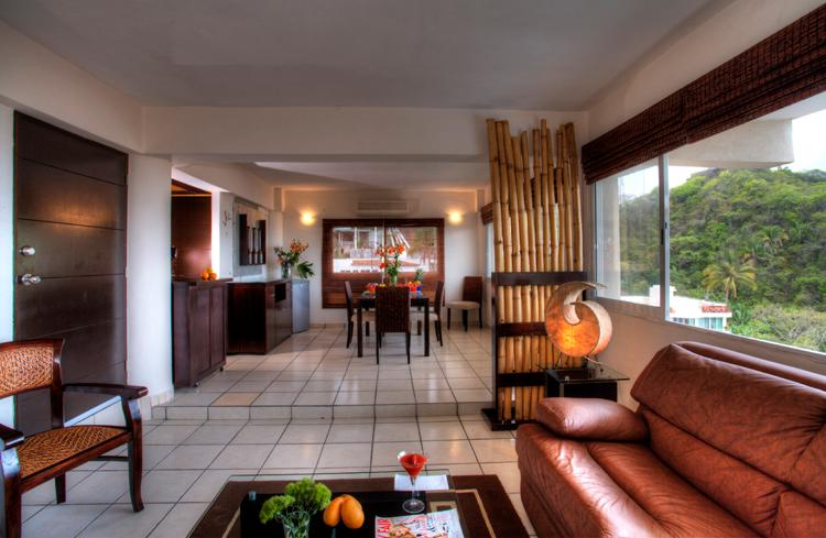 View from living room into dining area - Beautiful professionally decorated  1bedroom condo - Puerto Vallarta - rentals