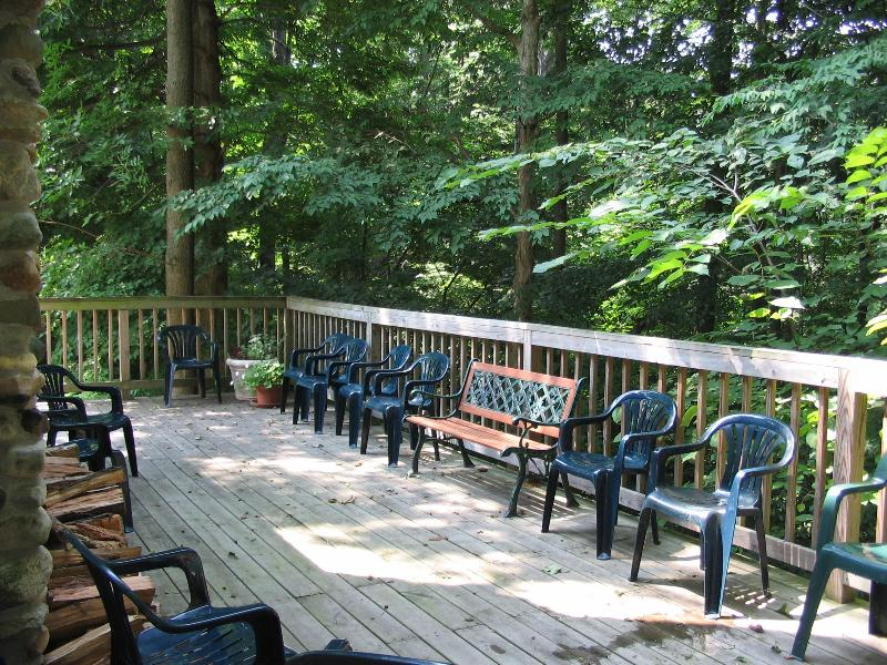 Meeting deck facing forest - Trilogy Lodge with large porch and stairs to Lake - Watervliet - rentals