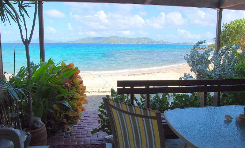 """View from the private patio directly ON Sapphire Beach.  Condo literally 30 steps to the water... - """"THREE PALMS"""" ~Beachfront Condo ON Sapphire Beach - Saint Thomas - rentals"""
