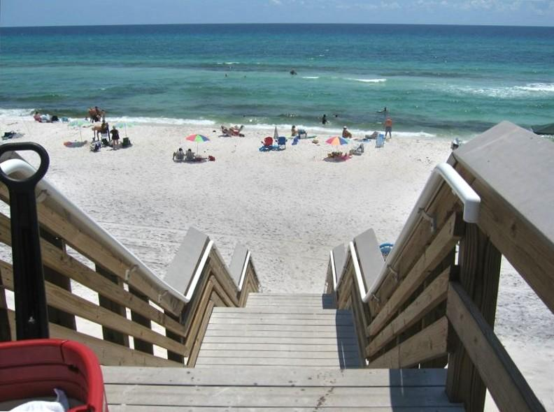 View from top of boardwalk one block from the unit! - Lovely Seagrove-Santa Rosa Beach Condo - Sleeps 8! - Santa Rosa Beach - rentals