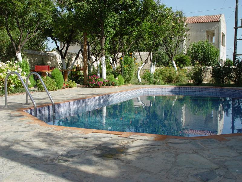 POOL GARDEN AREA SURROUNDED FROM TREES, BARBECUE SUNBEDS, UMBRELLAS, SMALL KITCHENET  AND PRIVATE PARKING - FANTASTIC VILLA  WITH  PRIVATE  POOL FREE INTERNET - Rethymnon Prefecture - rentals