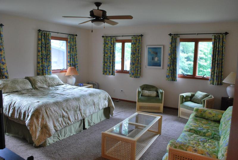Master Bedroom with a king sized bed - Huge Lakefront 4BR House with Private Dock - Coloma - rentals