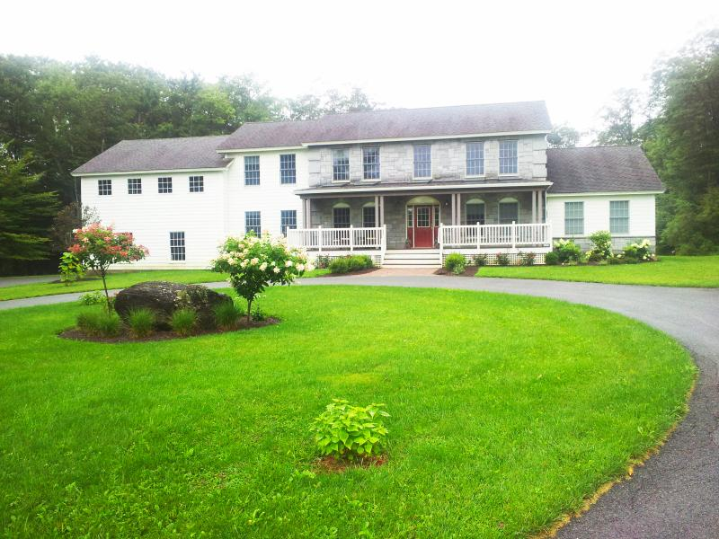 Front of home  2 car attached garage circular drive for a dozen more - Berkshire Estate: Exquisitely furnished 7,000sf - Great Barrington - rentals