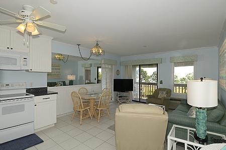 View from hall to Living room  - 417 Ocean dune Villas - Hilton Head - rentals