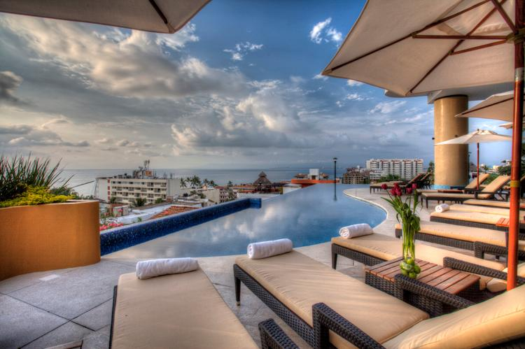 Infinity pool with ocean view & comfy chaises - ROMANTIC ZONE NEW 2BD/2BA VIEW CONDO - Puerto Vallarta - rentals