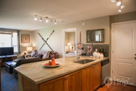 Large Granite Center Island overlooking Living room - Bear Lodge Super Location,Unit # 301 - Whistler - rentals