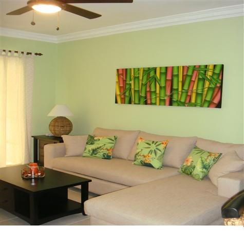 Living Room with Ceiling Fan - Punta Cana Bavaro Delightful & Comfortable 1BR Con - Bavaro - rentals