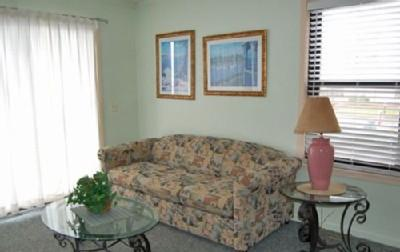 Living room with sleeper sofa - OCEANFRONT 1BR @ MB RESORT, POOLS//WIFI - A107 - Myrtle Beach - rentals