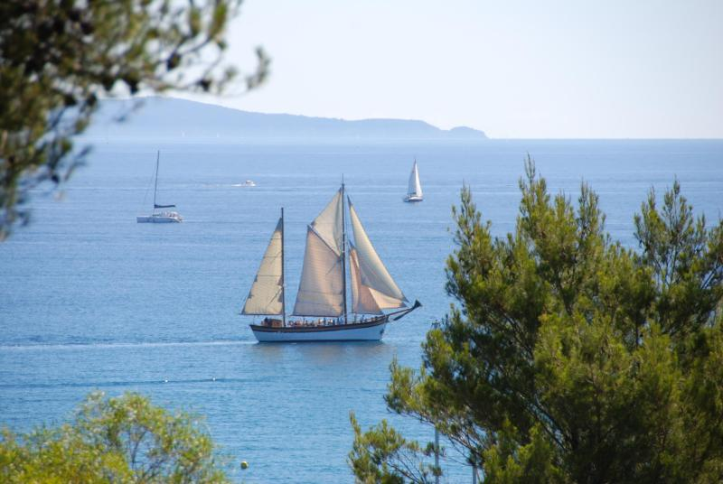 Vue depuis la terrasse - Charming 1 Bedroom Vacation Home with a View of the Sea, Pet-Friendly - Bormes-Les-Mimosas - rentals