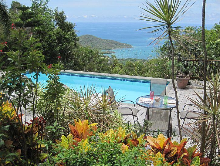 Spacious pool deck overlooks Coral Bay, across East End into the BVI, beautful sunrises! - Seaclusion-St. John - Saint John - rentals