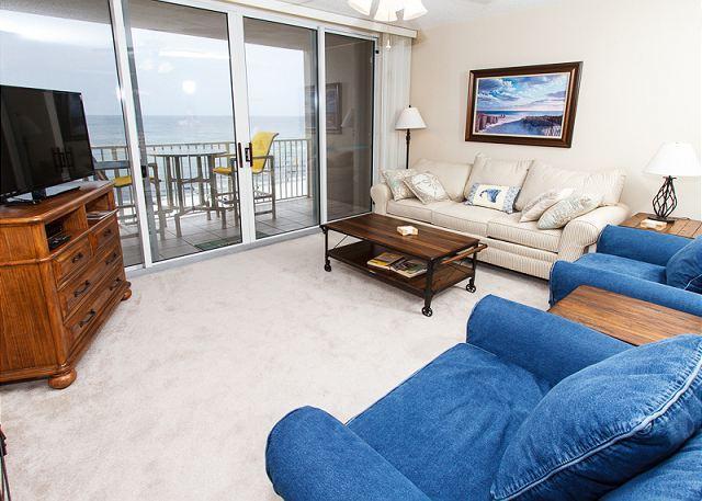 Beach front living room with a queen sleeper - IP 614 - 6th floor BEACH front 2 BR, FREE BEACH SERVICE, Golf, snorkeling - Fort Walton Beach - rentals