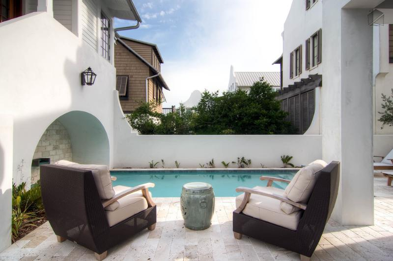 Enjoy the tranquility of a private pool and plenty of outdoor seating. - Stylish modern home in the heart of Rosemary Beach with its own pool and amazing views from the balcony! - New Providence Main House - Rosemary Beach - rentals