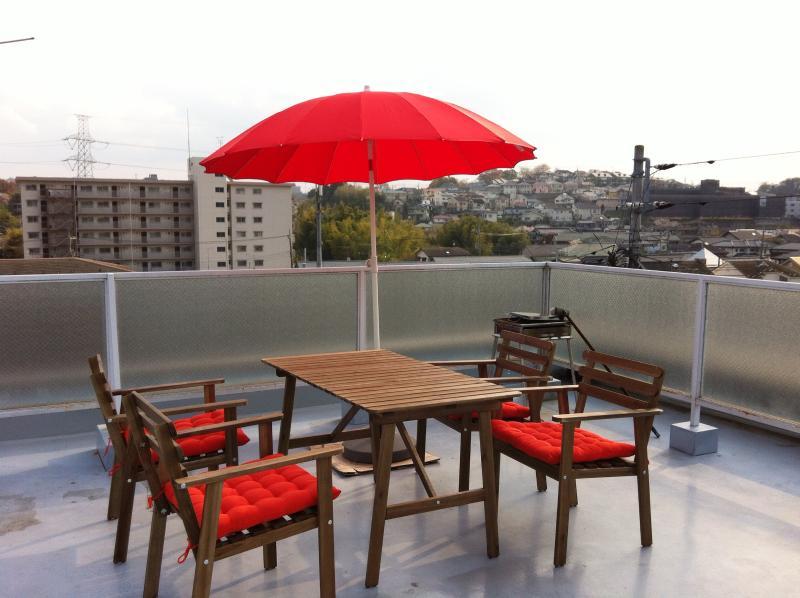 enjoy a meal on the roof terrace - 2 room Pkt wifi + Nexus 7 // 'Sakura ' - Machida - rentals