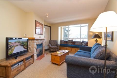 Bright Spacious living room - Nicely remodeled Deer Lodge 1 Bed, 1 Bath condo in Whistler Village Unit 350 - Whistler - rentals