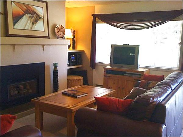 Sunny Living Room Includes a Gas Fireplace and Entertainment Center - Cute, Centrally Located Condo at Vantage Point - Fantastic Views of Vail Mountain (23935) - Vail - rentals