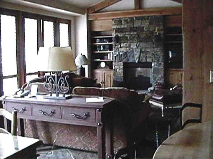 Living Room Features a Fireplace and Vaulted Ceilings - Rustic, Yet Modern Penthouse - Exposed Beam Ceilings (6691) - Telluride - rentals