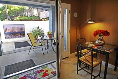 Your private patio is just outside the french doors/entrance. - Spacious Luxury Studio in Bay Park - Pacific Beach - rentals