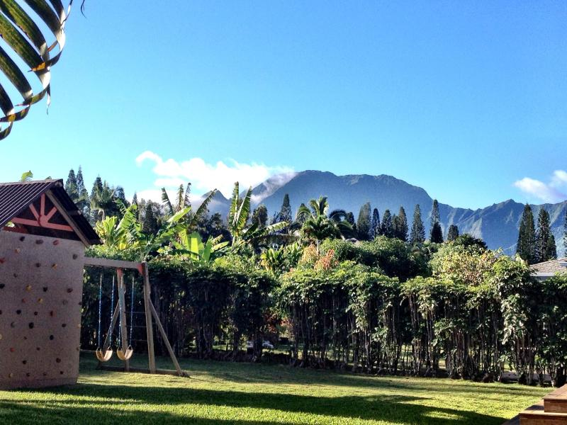 View of Hanalei Mountains from yard - Kauai Hale: Boutique Inspired Family-friendly home - Princeville - rentals