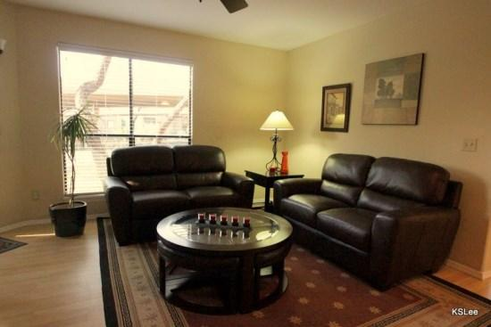 Spacious living room with plenty of sunshine - Quite, Spacious, Downstairs, Two Bedroom, Two Bath Condo at Canyon View in Building 14 - Tucson - rentals