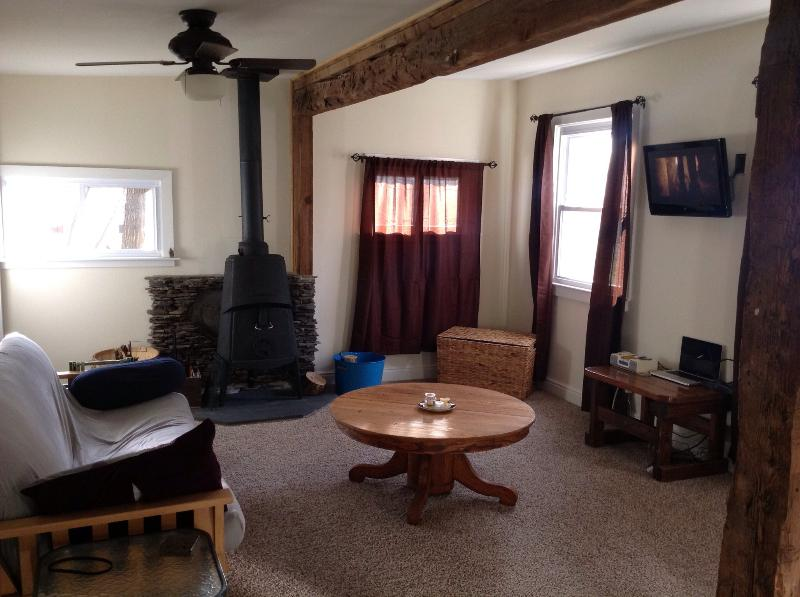 the main room of the cabin. Full futon and the wood stove is great..enjoy it!! - Clean and Comfy Catskills Cabin - West Kill - rentals
