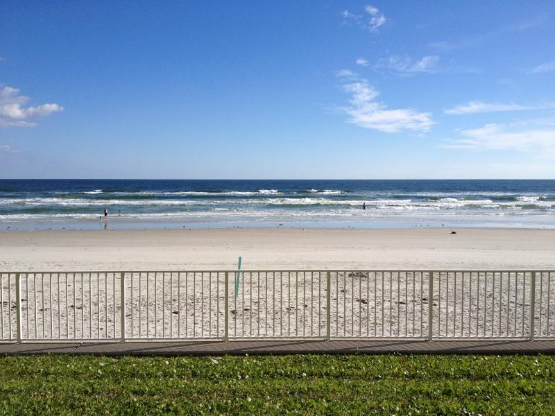 View reading from the patio! - Newly Renovated Beautiful Beachfront Condo - New Smyrna Beach - rentals