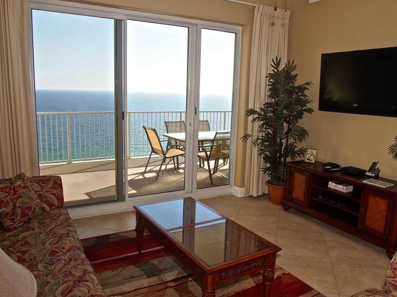 Living Area with Amazing View - Beachfront 2 Bedroom at Ocean Reef with Free Beach Service - Panama City Beach - rentals