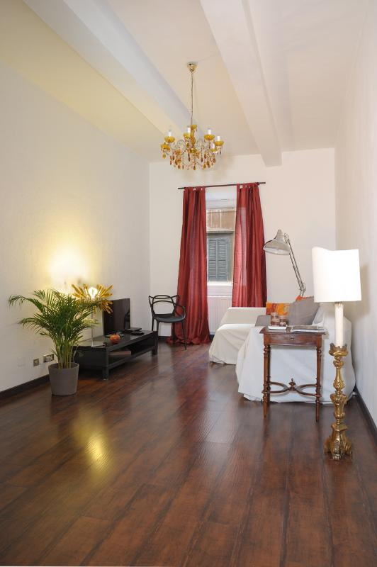 "Elegant living room with comfortable sofa bed, TV and DVD player - Holiday home ""Alla fontana di Borgo Pio"" - Rome - Rome - rentals"