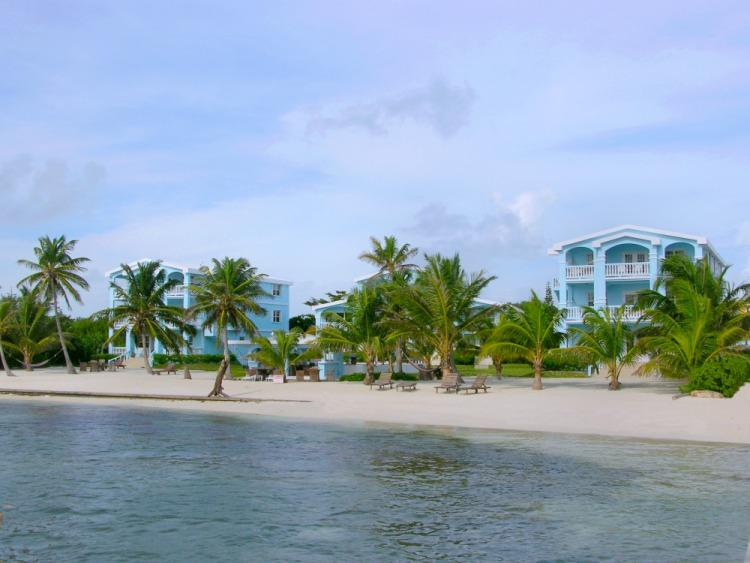 Sunset Beach Resort from the sea; this condo is in Building C, on right - C3: Beachfront with veranda view to Barrier Reef! - San Pedro - rentals