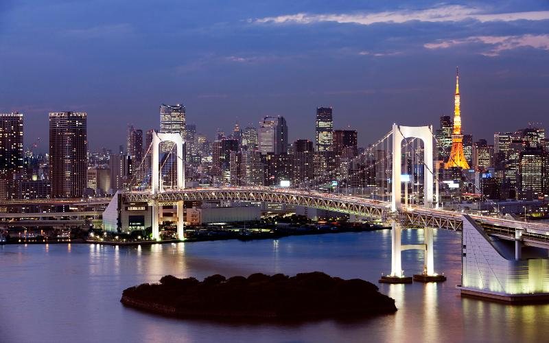 Rainbow bridge just in front of our condominium. - Odaiba: Tokyo Bay view Beach side condo - Minato - rentals