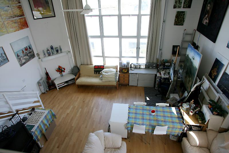 Bird-view of the studio from loft, I switched the bed with Futon. - Art Filled Loft on Sunny Potrero Hills - San Francisco - rentals