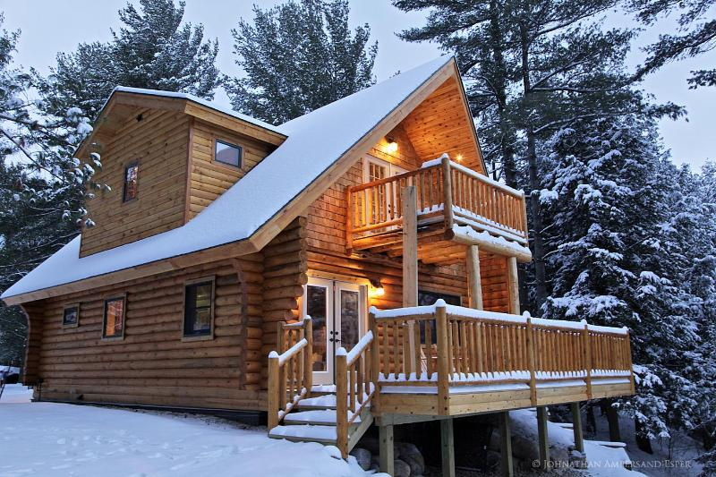 a cozy Adirondack Log Home in winter - Adirondack Log Home w/ riverfront & mountain views - Wilmington - rentals