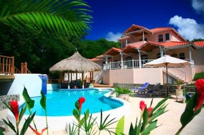 Pool and Tiki Bar View from Back of the Villa - Beau Rivage - Luxurious, Ocean View Villa - Cap Estate - rentals