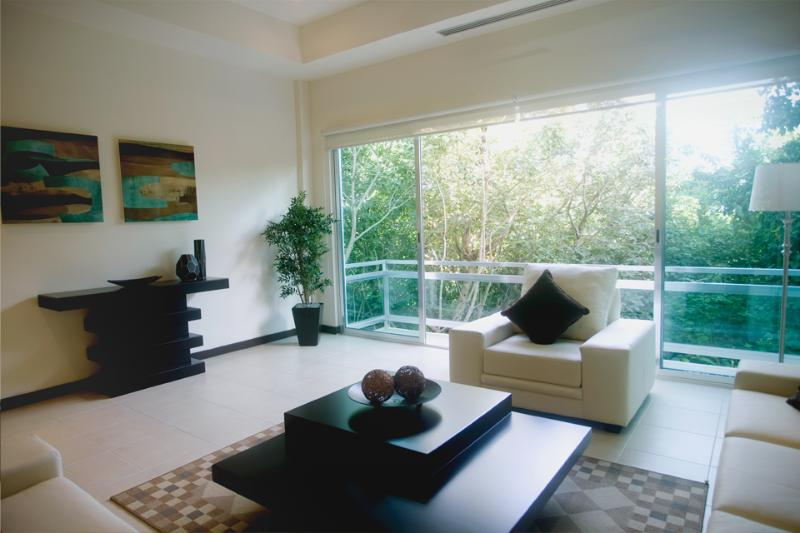 Living Room with view to the Jungle - 3 Bedroom Luxury Condo on 5th Brand New & Huge - Playa del Carmen - rentals