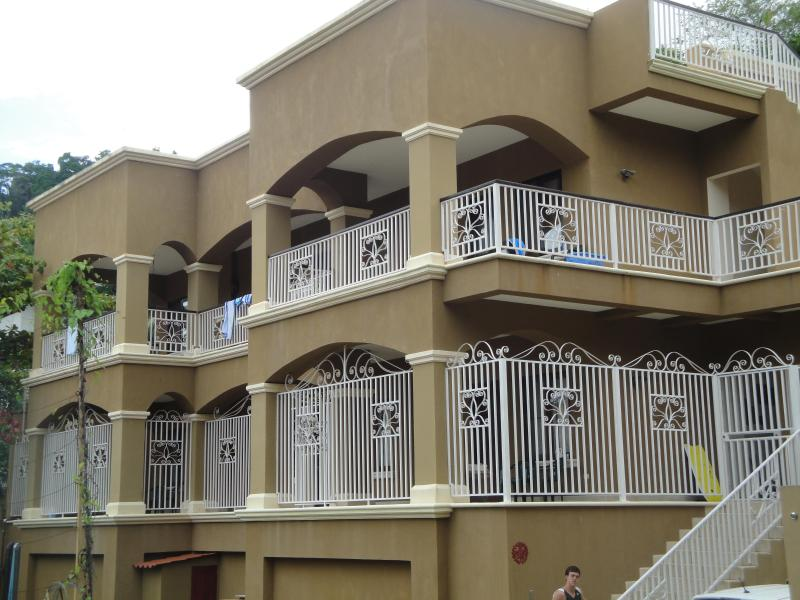 Front view of duplex - Great location, close to great surfing, restaurants, trails for hiking and biking! - Playa Matapolo - rentals