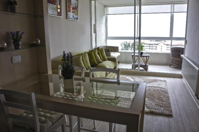 Dinning - Living and Terrace - Rent Apartment in Valparaiso with a great view - Renaca - rentals