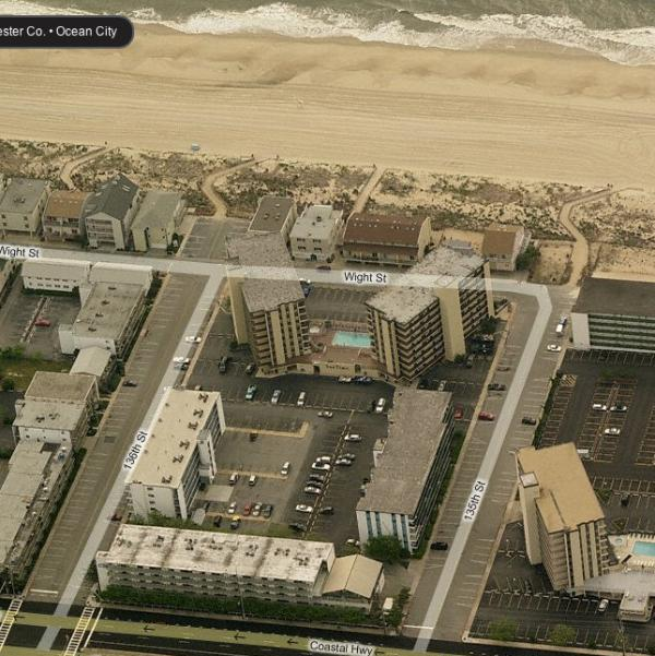 From the air.  Our building is on Coastal Hwy. - 3 BR Ocean Side.  Best deal in town..Book online - Ocean City - rentals