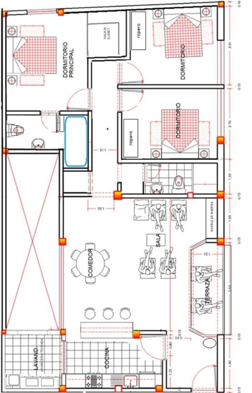 Layout - Luxury apartment 115 sqm - Huanchaco - rentals
