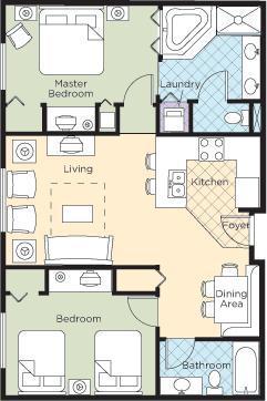 Floor plan - Wyndham Grand Desert 2Br Condo Near Strip #1 - Las Vegas - rentals