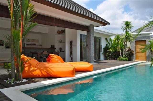 view in the day, pool with sun bad - Villa Kamboja Bidadari ( 2 bedroom ) - Denpasar - rentals
