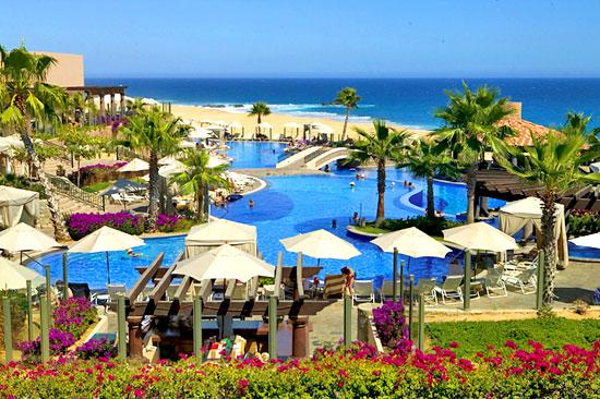 View of Main Pool and Beach - Junior Suite at Pueblo Bonito Sunset Beach - Beachfront Resort located in Cabo San Lucus - Cabo San Lucas - rentals