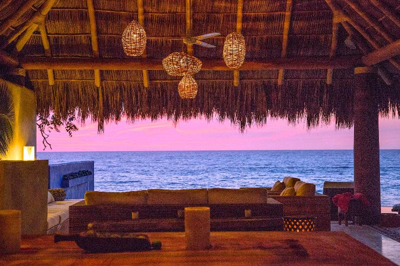 Looking through the palapa just after sunset - Ocean Front. 56 Ft Infinite Pool.cook. Private Paradise. - Chacala - rentals