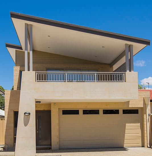 The front of this freshly constructed property is a stunning skillion elevation with stylish rammed earth as a feature against the played front pillar. - Busselton Holiday Home - sensational location! - Busselton - rentals