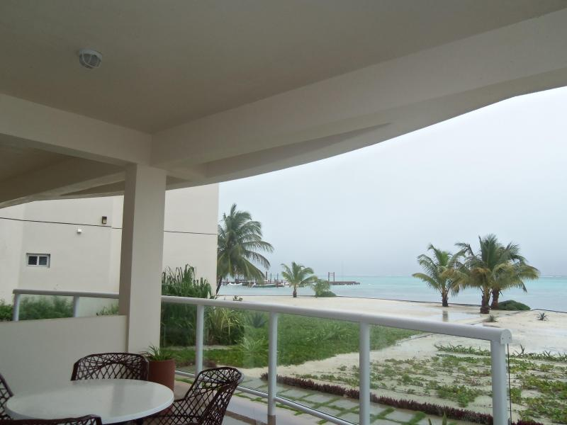 View of the Beach and Sea from Porch - Grand Caribe Resort -  Beachfront Condo - San Pedro - rentals