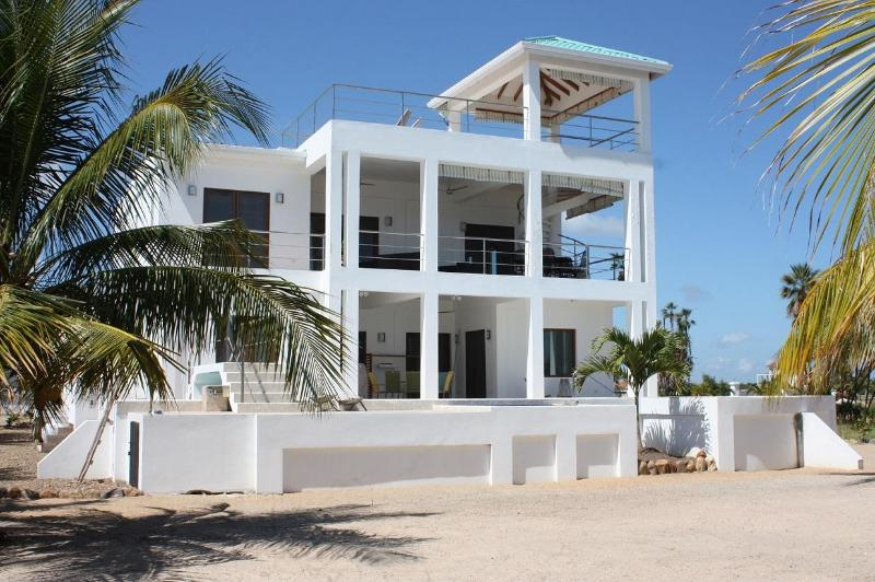 Viewed from the beach - A New Dawn Beach House - brand new 3 bedroom home - Placencia - rentals