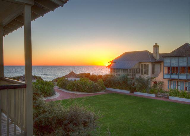 Sunset View over the Gulf and the Western Green - Burgin's Cottage - Gulf Views over Western Green in Rosemary Beach, FL - Rosemary Beach - rentals
