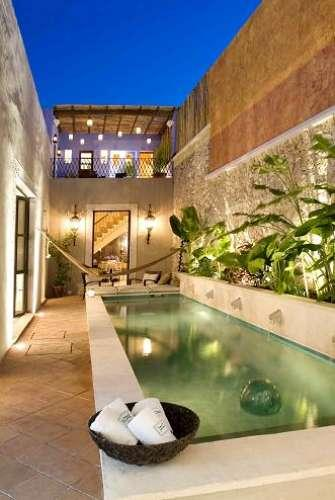 Pool area at night - Luxury Home with Pool in the Historic Centro - Merida - rentals
